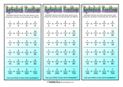 Equivalent Fractions Bookmarks 2