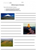 Types of Volcanoes - Worksheet