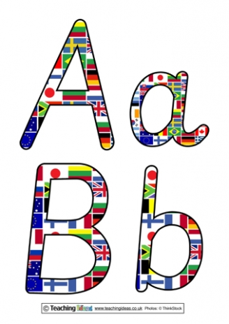 World Flags Display Letters