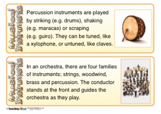 Musical Instruments Fact Cards