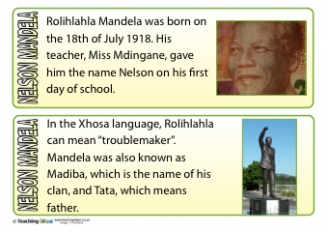 Nelson Mandela Fact Cards